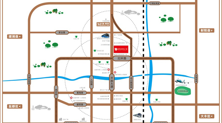 【家盐城_vr720°全景看房】红星爱琴海国际广场区位图